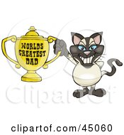 Royalty Free RF Clipart Illustration Of A Siamese Cat Character Holding A Golden Worlds Greatest Dad Trophy