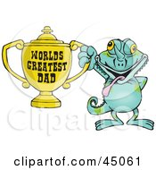 Royalty Free RF Clipart Illustration Of A Chameleon Character Holding A Golden Worlds Greatest Dad Trophy