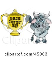 Royalty Free RF Clipart Illustration Of A Steer Character Holding A Golden Worlds Greatest Dad Trophy