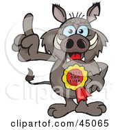 Royalty Free RF Clipart Illustration Of A Boar Character Wearing A Best Dad Ever Ribbon by Dennis Holmes Designs