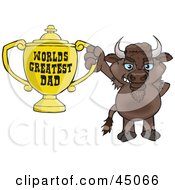 Royalty Free RF Clipart Illustration Of A Bison Character Holding A Golden Worlds Greatest Dad Trophy