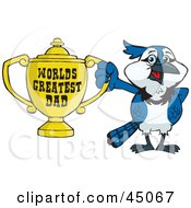 Royalty Free RF Clipart Illustration Of A Blue Jay Character Holding A Golden Worlds Greatest Dad Trophy