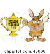 Royalty Free RF Clipart Illustration Of A Bilby Character Holding A Golden Worlds Greatest Dad Trophy