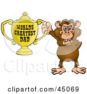 Royalty Free RF Clipart Illustration Of A Chimp Character Holding A Golden Worlds Greatest Dad Trophy