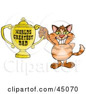 Royalty Free RF Clipart Illustration Of A Ginger Cat Character Holding A Golden Worlds Greatest Dad Trophy
