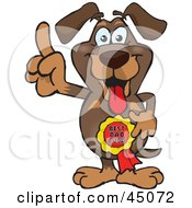 Royalty Free RF Clipart Illustration Of A Daschund Character Wearing A Best Dad Ever Ribbon