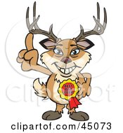 Royalty Free RF Clipart Illustration Of A Buck Character Wearing A Best Dad Ever Ribbon by Dennis Holmes Designs