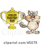 Royalty Free RF Clipart Illustration Of A Chipmunk Character Holding A Golden Worlds Greatest Dad Trophy