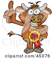 Royalty Free RF Clipart Illustration Of A Bull Character Wearing A Best Dad Ever Ribbon