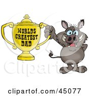 Royalty Free RF Clipart Illustration Of A Boar Character Holding A Golden Worlds Greatest Dad Trophy by Dennis Holmes Designs