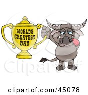 Royalty Free RF Clipart Illustration Of A Buffalo Character Holding A Golden Worlds Greatest Dad Trophy