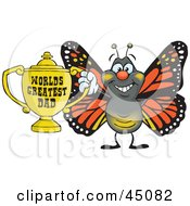 Royalty Free RF Clipart Illustration Of A Monarch Butterfly Character Holding A Golden Worlds Greatest Dad Trophy
