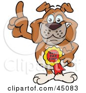 Royalty Free RF Clipart Illustration Of A Bulldog Character Wearing A Best Dad Ever Ribbon by Dennis Holmes Designs