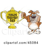 Royalty Free RF Clipart Illustration Of A Bulldog Character Holding A Golden Worlds Greatest Dad Trophy