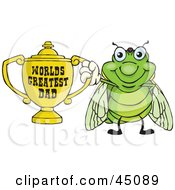 Cicada Character Holding A Golden Worlds Greatest Dad Trophy