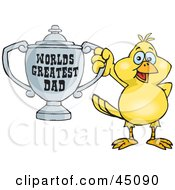 Royalty Free RF Clipart Illustration Of A Canary Bird Character Holding A Golden Worlds Greatest Dad Trophy