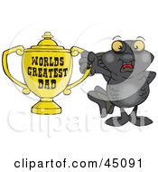 Royalty Free RF Clipart Illustration Of A Black Moor Fish Character Holding A Golden Worlds Greatest Dad Trophy