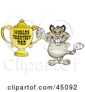 Royalty Free RF Clipart Illustration Of A Brown Cat Character Holding A Golden Worlds Greatest Dad Trophy