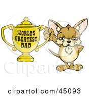 Royalty Free RF Clipart Illustration Of A Chihuahua Character Holding A Golden Worlds Greatest Dad Trophy
