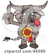 Royalty Free RF Clipart Illustration Of A Buffalo Character Wearing A Best Dad Ever Ribbon by Dennis Holmes Designs
