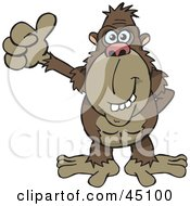 Royalty Free RF Clipart Illustration Of A Happy Ape Gesuring With A Thumbs Up by Dennis Holmes Designs
