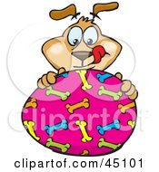 Royalty Free RF Clipart Illustration Of A Dog Character Eyeing A Pink Easter Egg With A Bone Pattern by Dennis Holmes Designs