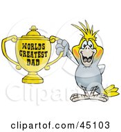 Royalty Free RF Clipart Illustration Of A Cockatiel Bird Character Holding A Golden Worlds Greatest Dad Trophy by Dennis Holmes Designs