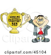 Royalty Free RF Clipart Illustration Of An Italian Man Character Holding A Golden Worlds Greatest Dad Trophy