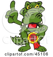 Royalty Free RF Clipart Illustration Of A Gator Character Wearing A Best Dad Ever Ribbon by Dennis Holmes Designs