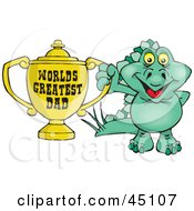 Royalty Free RF Clipart Illustration Of A Green Stegosaur Dino Character Holding A Golden Worlds Greatest Dad Trophy