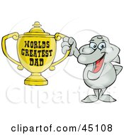 Royalty Free RF Clipart Illustration Of A Dolphin Character Holding A Golden Worlds Greatest Dad Trophy