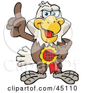 Royalty Free RF Clipart Illustration Of A Bald Eagle Character Wearing A Best Dad Ever Ribbon by Dennis Holmes Designs