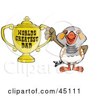 Royalty Free RF Clipart Illustration Of A Zebra Finch Bird Character Holding A Golden Worlds Greatest Dad Trophy