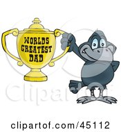 Royalty Free RF Clipart Illustration Of A Crow Bird Character Holding A Golden Worlds Greatest Dad Trophy