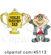 Caucasian Man Character Holding A Golden Worlds Greatest Dad Trophy
