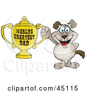 Royalty Free RF Clipart Illustration Of A Mutt Dog Character Holding A Golden Worlds Greatest Dad Trophy