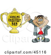 Royalty Free RF Clipart Illustration Of A Hispanic Man Character Holding A Golden Worlds Greatest Dad Trophy