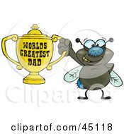 Royalty Free RF Clipart Illustration Of A Housefly Character Holding A Golden Worlds Greatest Dad Trophy