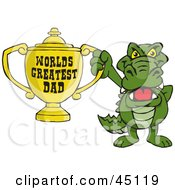 Royalty Free RF Clipart Illustration Of A Gator Character Holding A Golden Worlds Greatest Dad Trophy