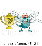 Royalty Free RF Clipart Illustration Of A Dragonfly Character Holding A Golden Worlds Greatest Dad Trophy
