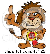 Royalty Free RF Clipart Illustration Of A Lion Character Wearing A Best Dad Ever Ribbon by Dennis Holmes Designs