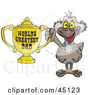 Royalty Free RF Clipart Illustration Of An Emu Bird Character Holding A Golden Worlds Greatest Dad Trophy