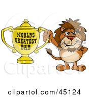Royalty Free RF Clipart Illustration Of A Lion Wildcat Character Holding A Golden Worlds Greatest Dad Trophy by Dennis Holmes Designs