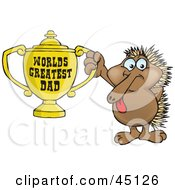 Royalty Free RF Clipart Illustration Of An Echidna Character Holding A Golden Worlds Greatest Dad Trophy