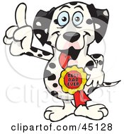 Royalty Free RF Clipart Illustration Of A Dalmatian Dog Character Wearing A Best Dad Ever Ribbon by Dennis Holmes Designs