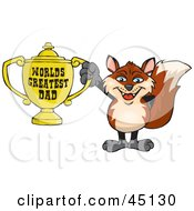 Royalty Free RF Clipart Illustration Of A Fox Character Holding A Golden Worlds Greatest Dad Trophy by Dennis Holmes Designs