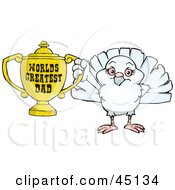 Royalty Free RF Clipart Illustration Of A Dove Bird Character Holding A Golden Worlds Greatest Dad Trophy by Dennis Holmes Designs