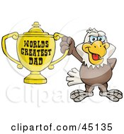 Royalty Free RF Clipart Illustration Of A Bald Eagle Bird Character Holding A Golden Worlds Greatest Dad Trophy