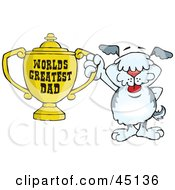Royalty Free RF Clipart Illustration Of An Old English Sheepdog Character Holding A Golden Worlds Greatest Dad Trophy by Dennis Holmes Designs