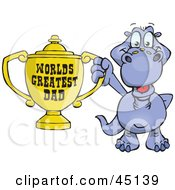 Royalty Free RF Clipart Illustration Of A Purple Brontosaurus Dino Character Holding A Golden Worlds Greatest Dad Trophy by Dennis Holmes Designs